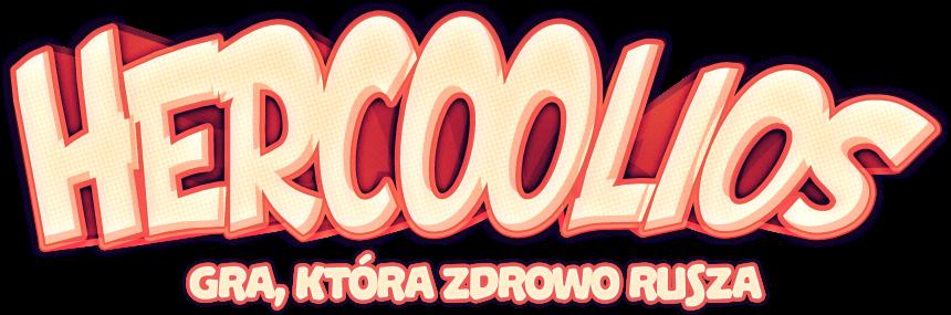 Logo gry Hercoolios oraz slogan gra, która zdrowo rusza